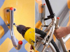 Монтаж крепежа для хранения велосипеда